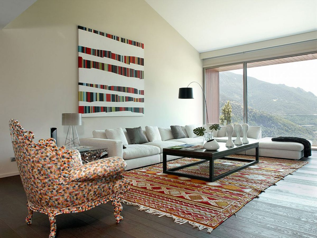 Living room of the modern home in Andorra with colorful rug