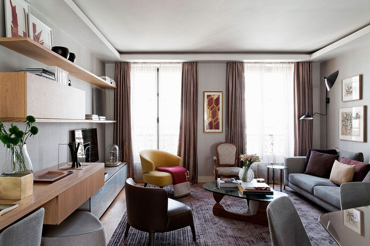 Living room of the stylish Paris apartment with curated decor Brazilian Panache Meets Parisian Charm Inside This Chic Modern Apartment