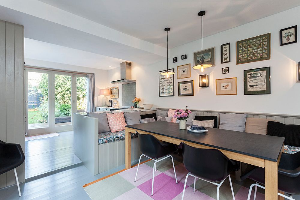 View In Gallery Lovely Scandinavian Dining Room With Banquette Seating From Chris Snook