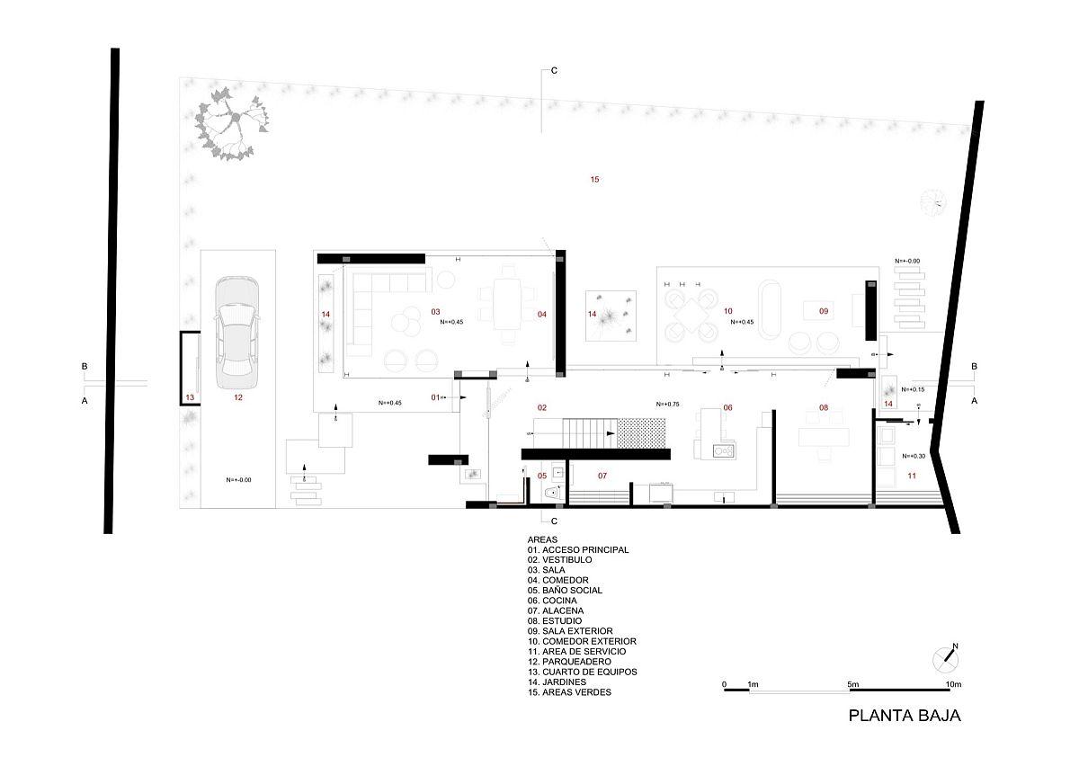 Lower level floor plan of contemporary home in Ecuador
