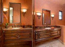 Mediterranean powder room in burnt orange