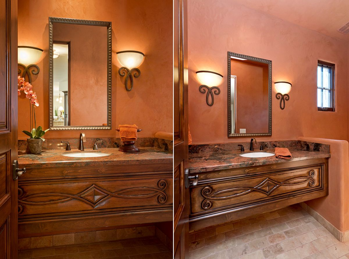 Mediterranean powder room in burnt orange [Design: LMK Interiors LLC]