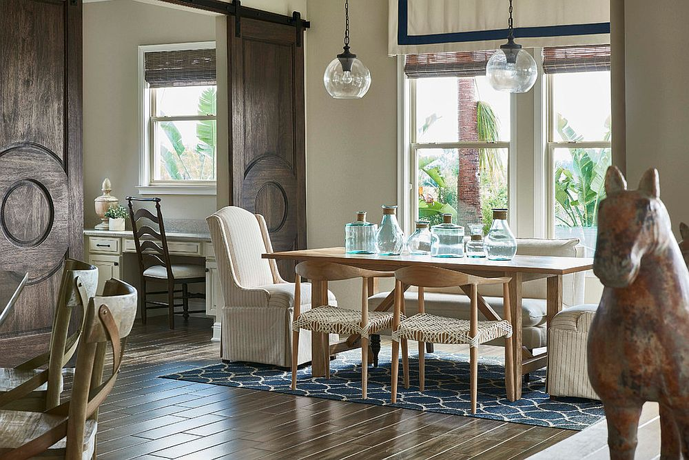 Mediterranean style dining room with beautiful barn doors [From: Tina Marie Interior Design / Stephen Allen Photography]