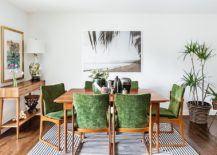 Mid-century and tropical styles rolled into one in the dining room