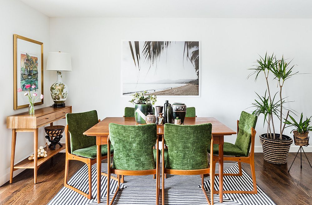 Mid-century and tropical styles rolled into one in the dining room [From: brio interior design / Haris Kenjar Photography]
