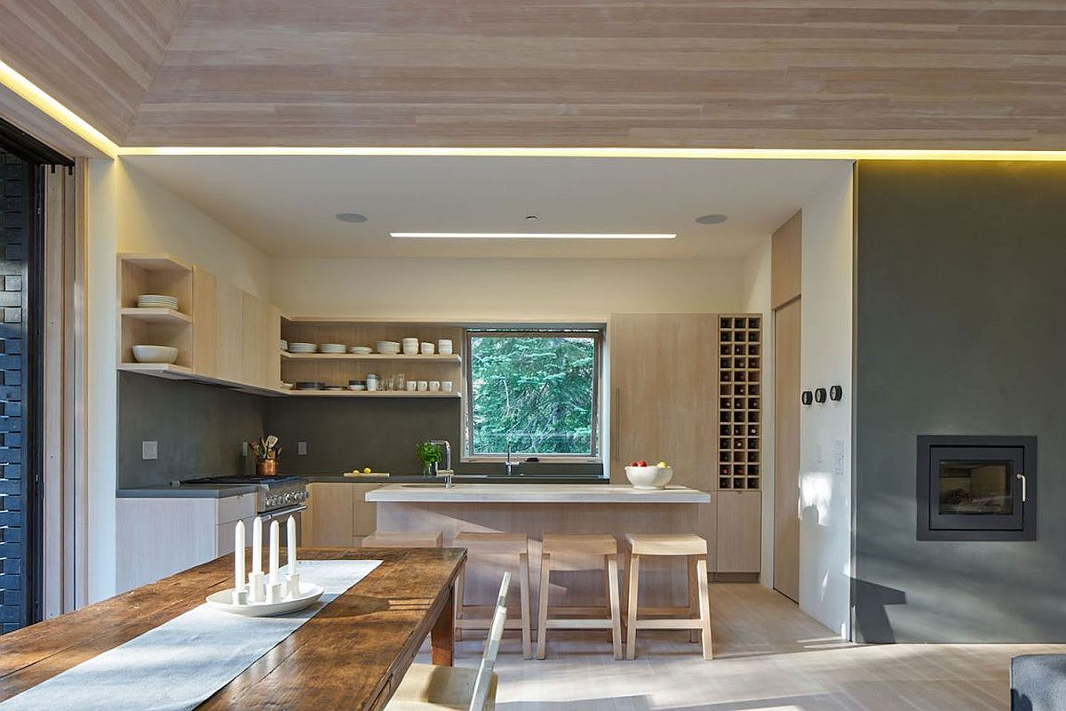 Minimally treated fir and concrete shape the interior of the modern cabin in the Sugar Bowl Ski Resort