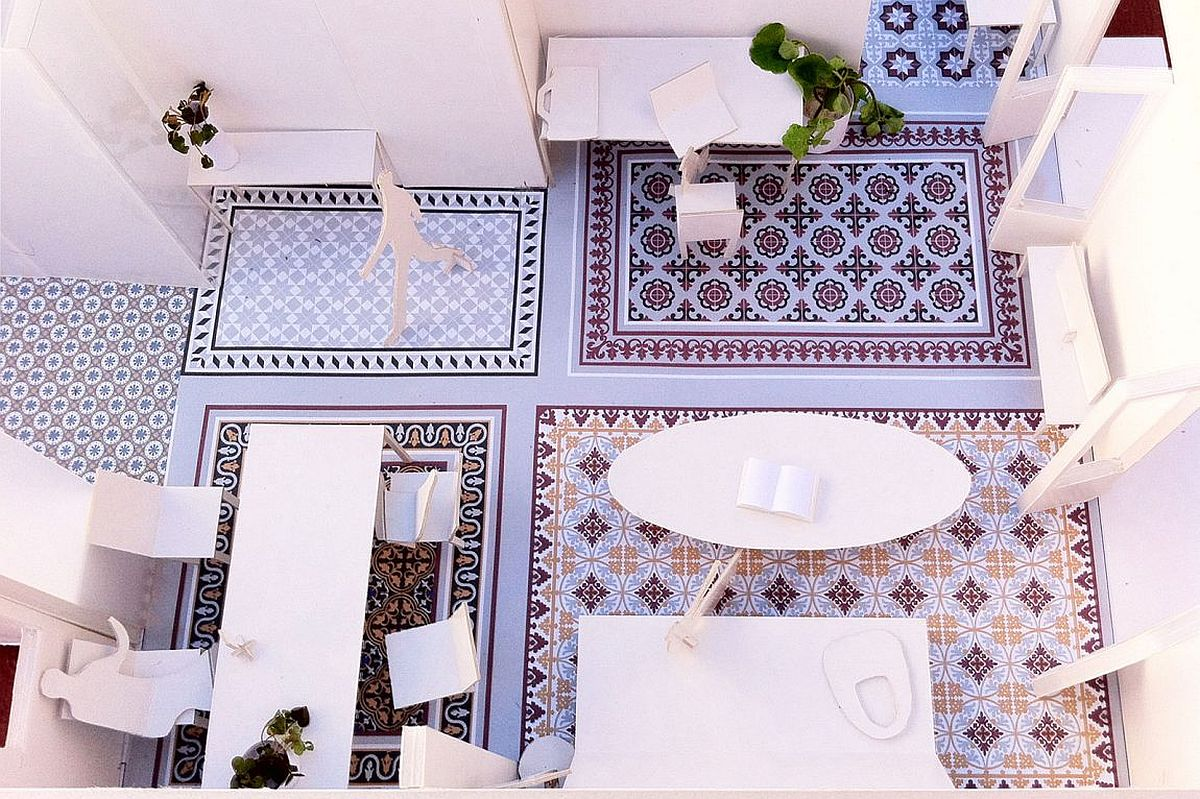 Model of the new living area and diining with original mosaic flooring