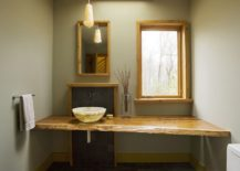 Modern and minimal bathroom with Asian influences and live edge vanity
