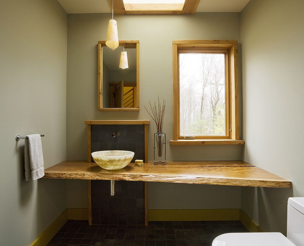 ... Modern And Minimal Bathroom With Asian Influences And Live Edge Vanity  [Design: Studio III