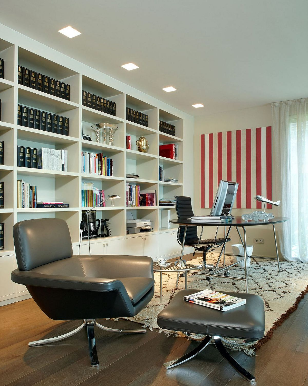 Modern home library and office in white
