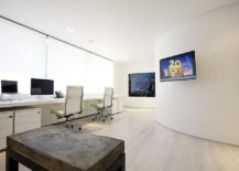 Modern home office in white with video conferencing facility