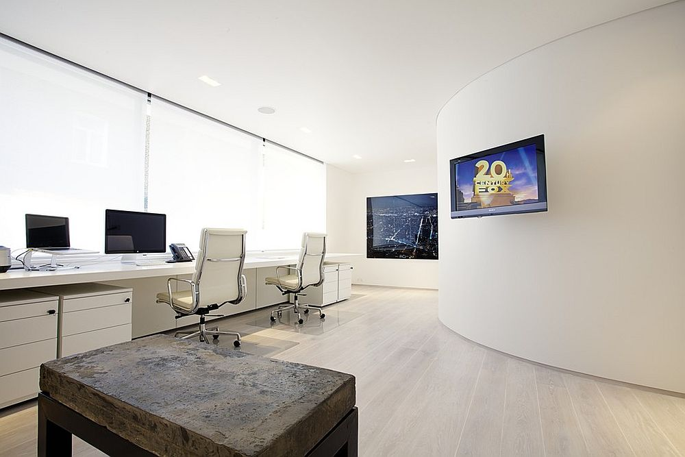 Modern home office in white with video conferencing facility [Design: Olive Audio Visual]