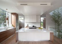 Modern kitchen in white coupled with warmth of wood