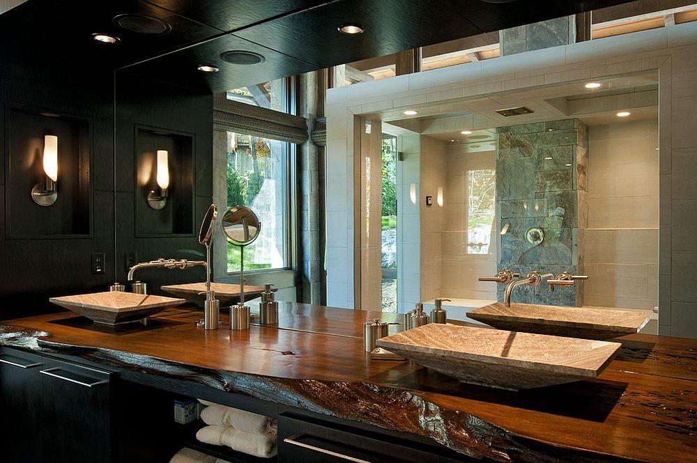 Modern rustic bathroom with a natural edge wooden vanity [Design: Dianne Davant and Associates]