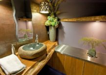 Natural slab of wood used for both bathroom shelves and vanity