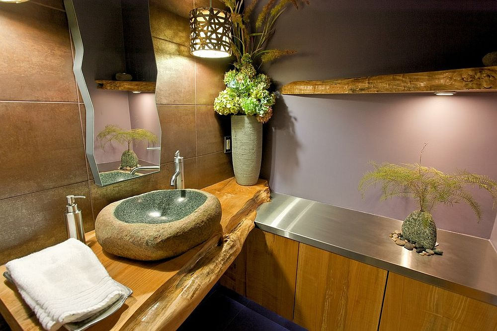 View In Gallery Natural Slab Of Wood Used For Both Bathroom Shelves And  Vanity Design Kingdom Builders