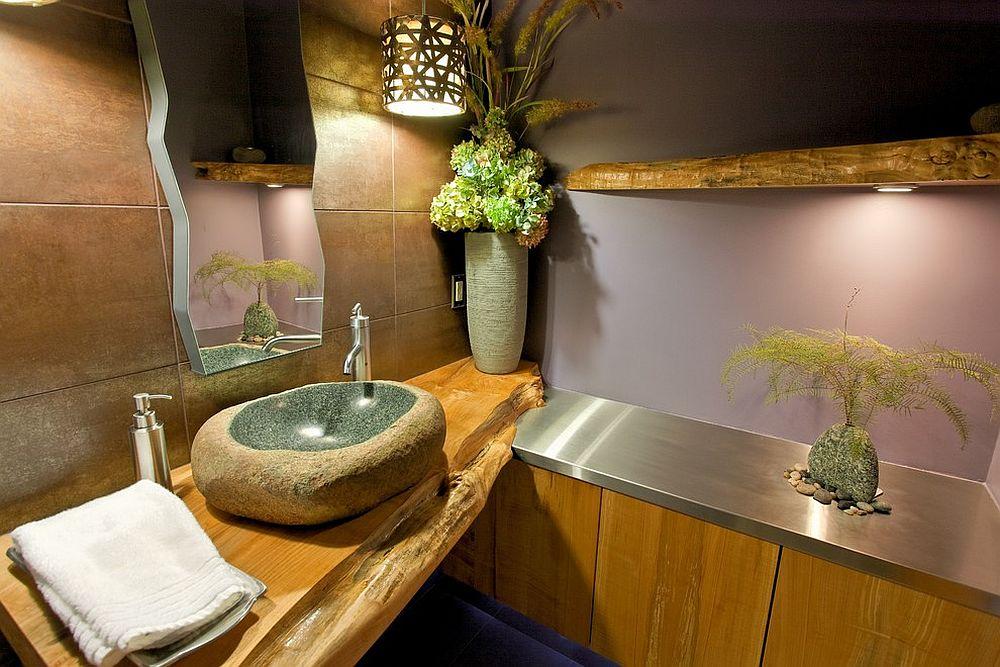 Natural slab of wood used for both bathroom shelves and vanity [Design: Kingdom Builders]