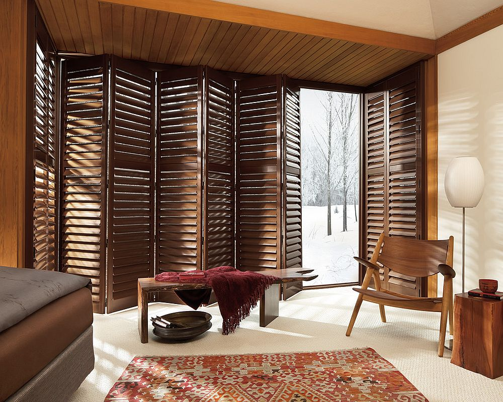 NewStyle® hybrid shutters for the style-conscious modern-rustic sunroom [Design: Stamper's Blinds Gallery]