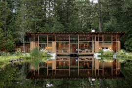 Newberg Residence: Exotic Green Escape Built Around a Man-Made Pond