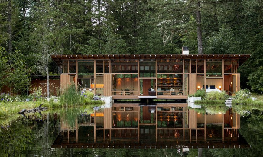 Newberg Residence: Exotic Green Escape Built Around a Man-Made Pond