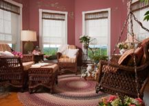 Octagonal sunroom full of color and beautiful blinds