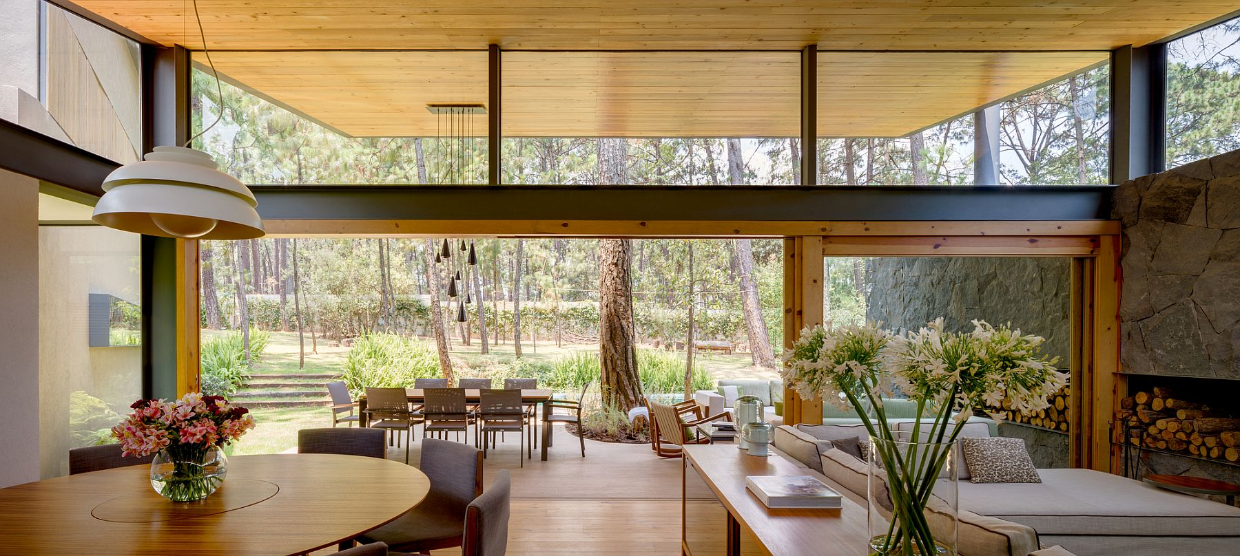 Open living area and dining space at the Five House