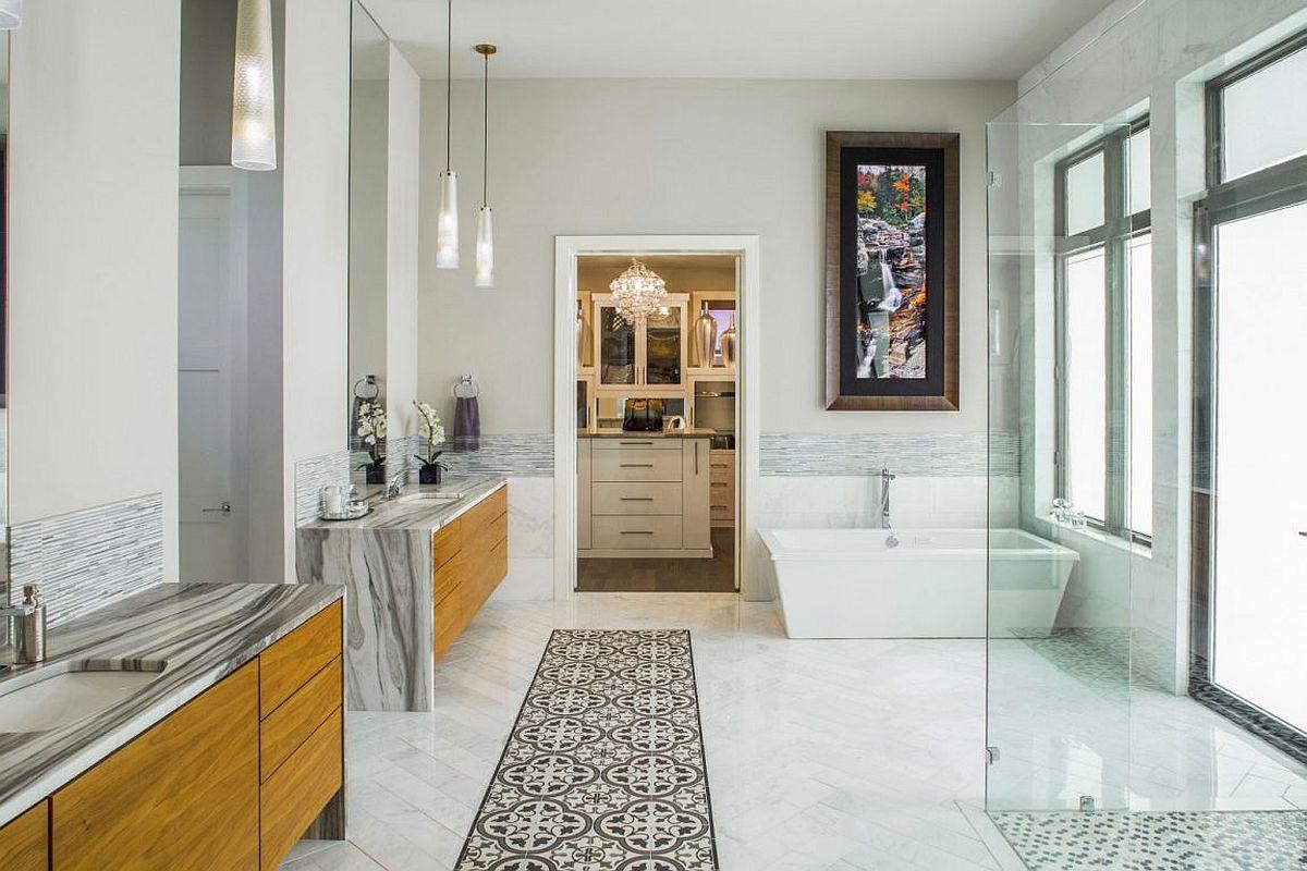 Opulent modern bathroom clad in marble elegance