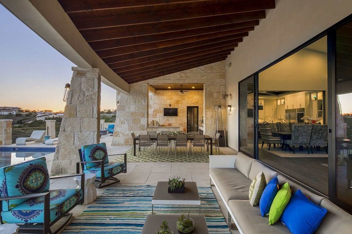 Outdoor living and dining at the sensational contemporary residence in Spanish Oaks neighborhood