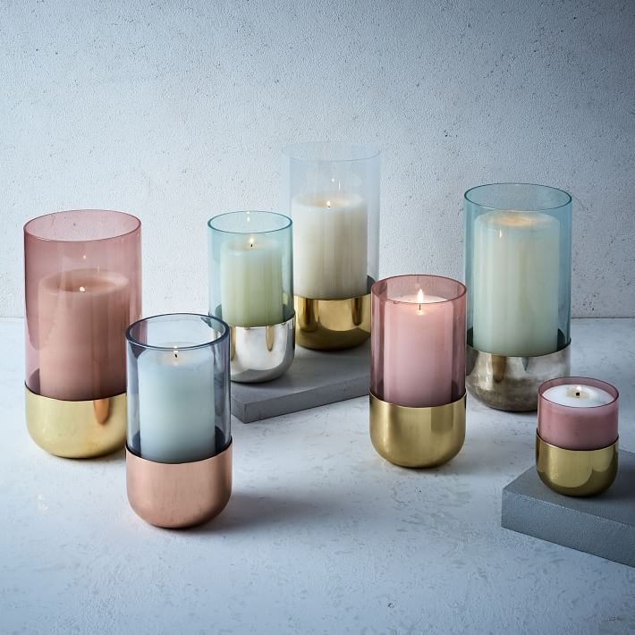 Pastel and metallic candleholders from West Elm