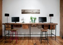 Pipes, reclaimed wood and vintage crates used to create a lovely DIY work desk