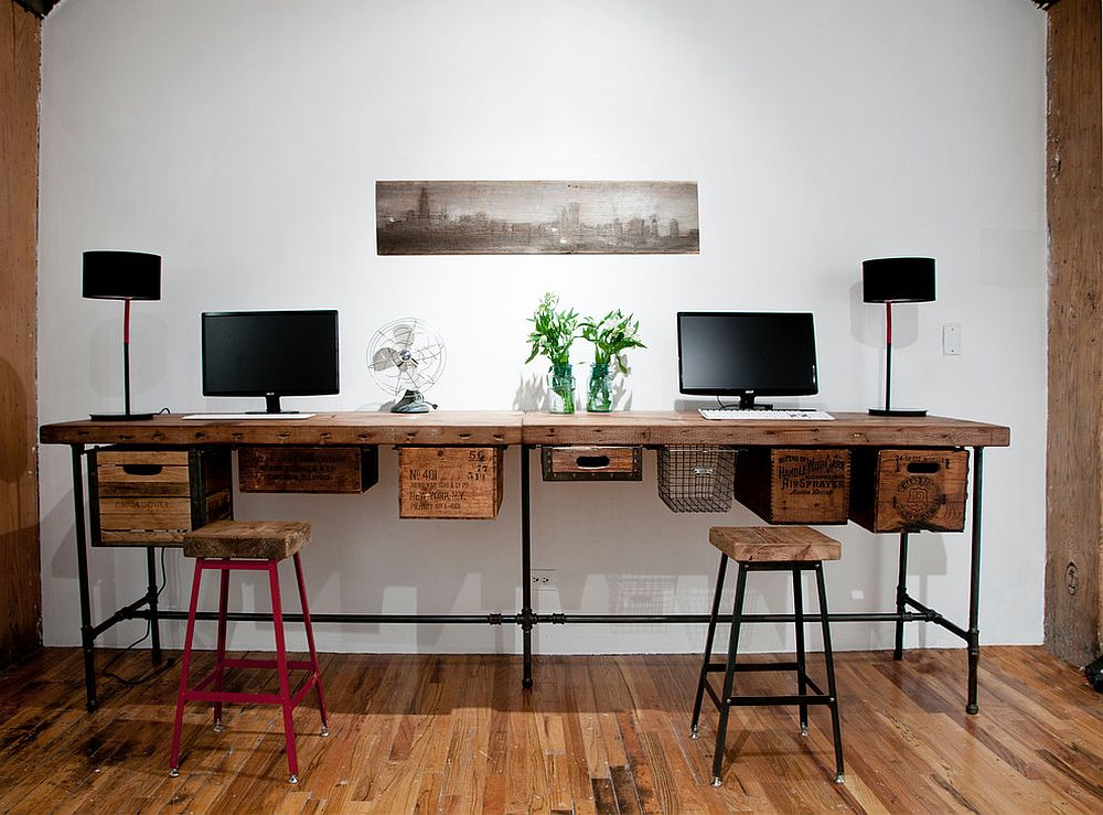 Wall Office Desk. Reclaimed Wood And Vintage Crates Used To Create A Lovely  DIY Work