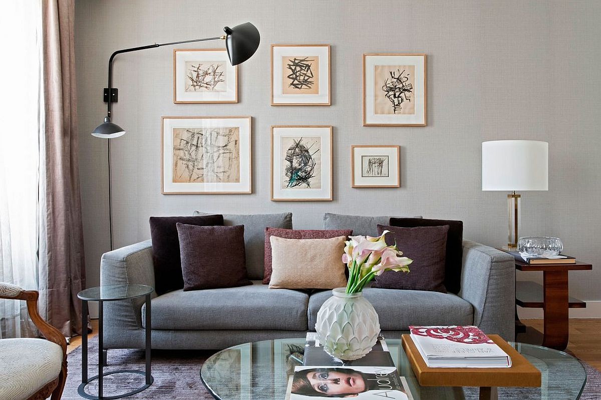 Plush gray couch in the living room of the Paris home