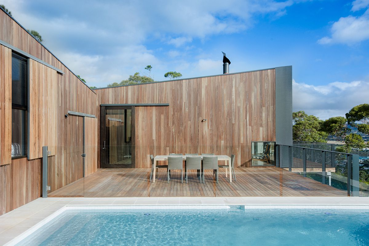Pool deck combines privacy with serene coastal views