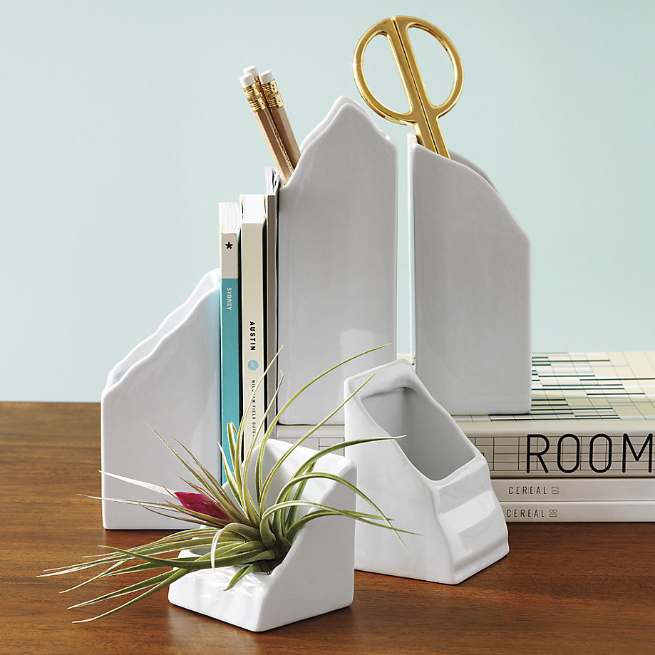 Porcelain mountain desk organizer set from CB2