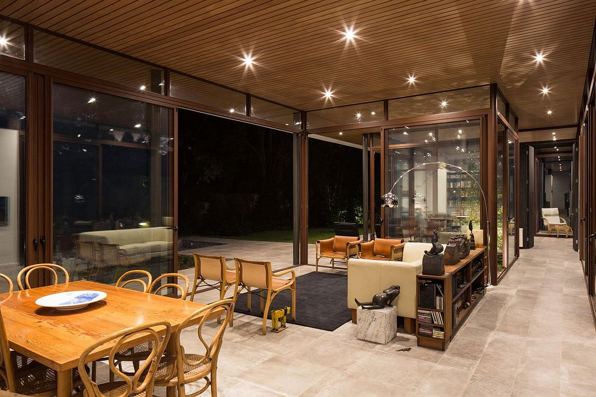 Recessed lighting creates a cool ambiance inisde the family house