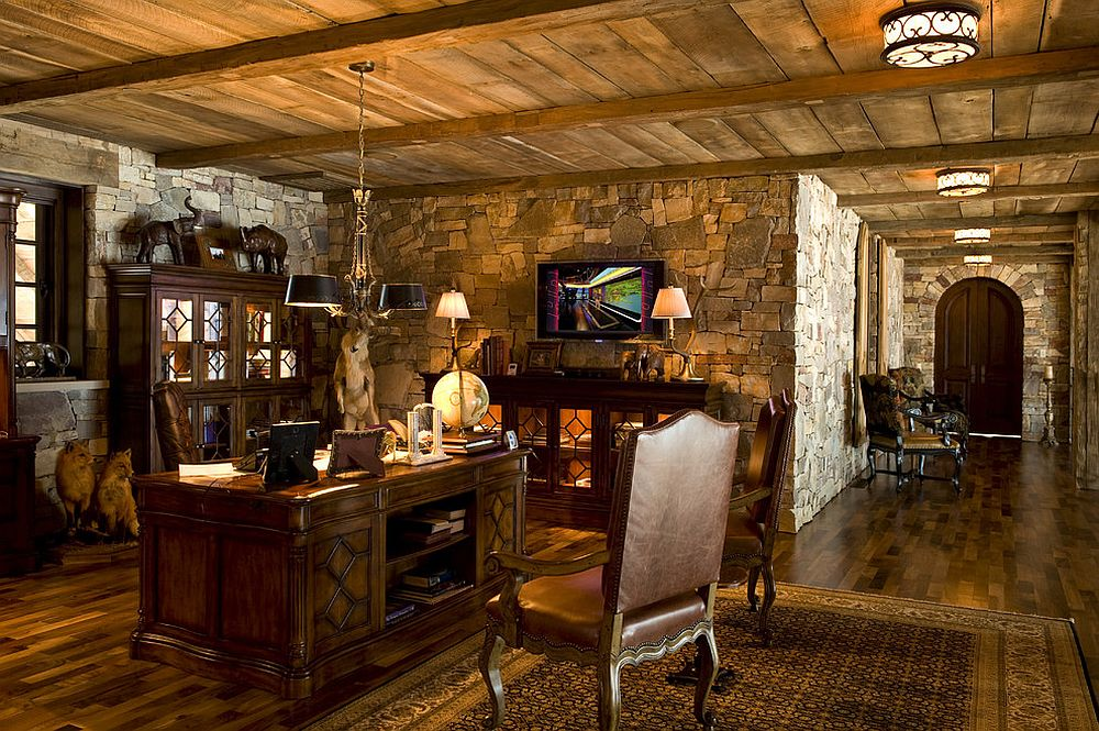 Reclaimed beams, wood and stone shape a cozy, cabin-styled home office [From: Marie Meko]