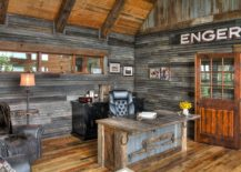 Reclaimed metal and wood combine effectively in the rustic home office