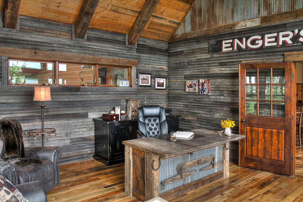 Reclaimed metal and wood combine effectively in the rustic home office [Design: Lands End Development]