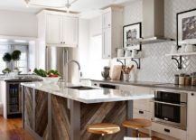 Reclaimed timber boards give the old kitchen island a new lease of life