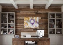 Reclaimed wood accent wall for the transitional home office