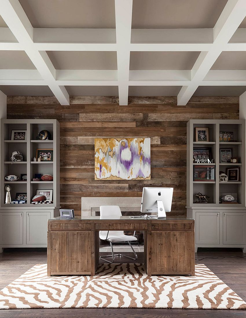 Reclaimed wood accent wall for the transitional home office [Design: BK Design Studio / Robert Elliott Custom Homes]