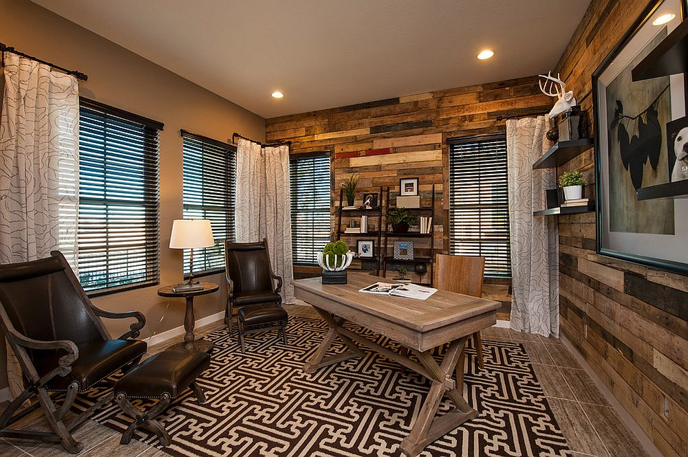 Reclaimed wood adds elegance and warmth to the contemporary home office [From: Meritage Homes]