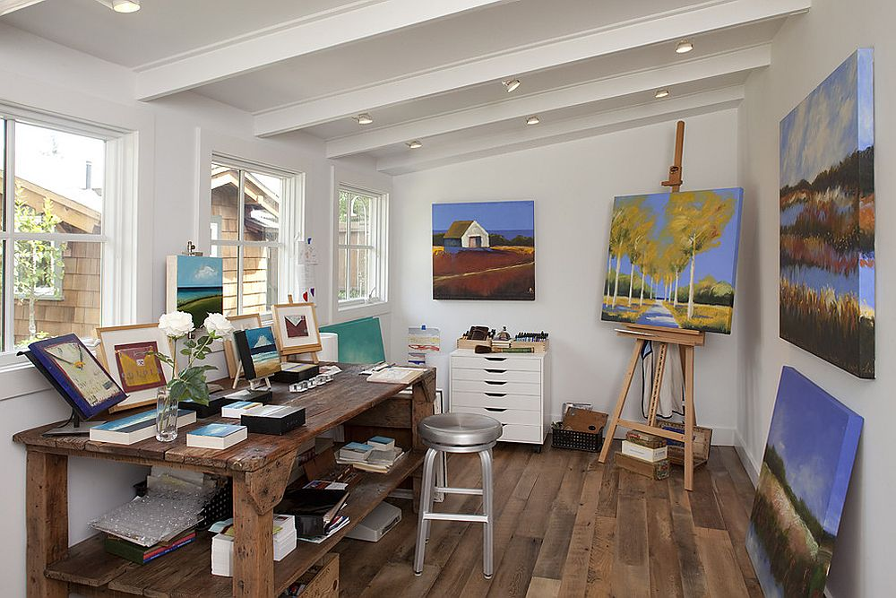 Reclaimed wood planks used to create striking home office floor [From: Artistic Designs for Living, Tineke Triggs]