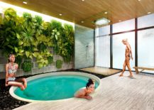 Rejuvinating spa set against a green backdrop at Brickell Heights