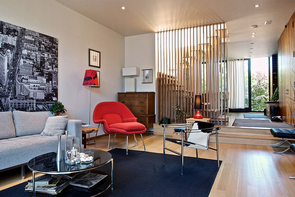 Room divider for the modern living space crafted from wooden slats is a popular choice [From: Andrew Snow Photography]