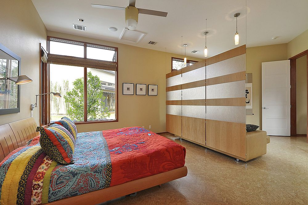... Room Divider In The Contemporary Master Bedroom With Floating Panels  [Design: Cornerstone Architects /