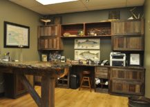 Rustic home office draped in reclaimed barn wood