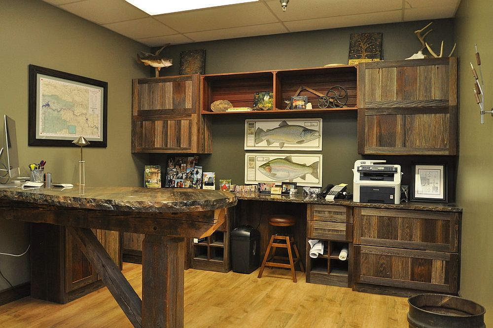 Rustic home office draped in reclaimed barn wood [From: Haste Woodcraft]