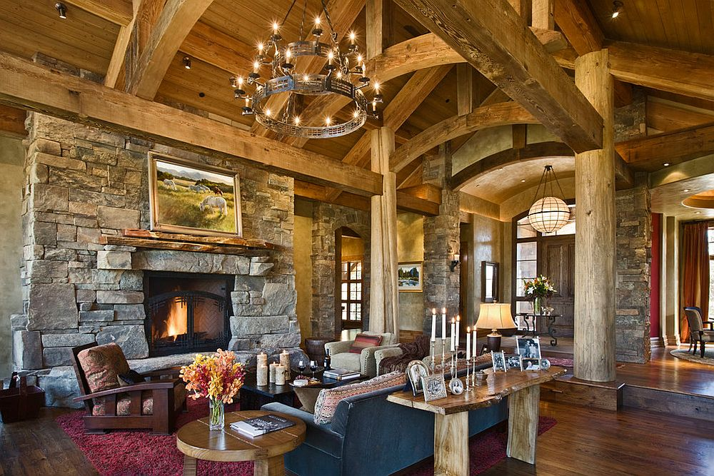 Rustic living room with fabulous live edge table behind the couch [Design: Locati Architects / Roger Wade Studio]