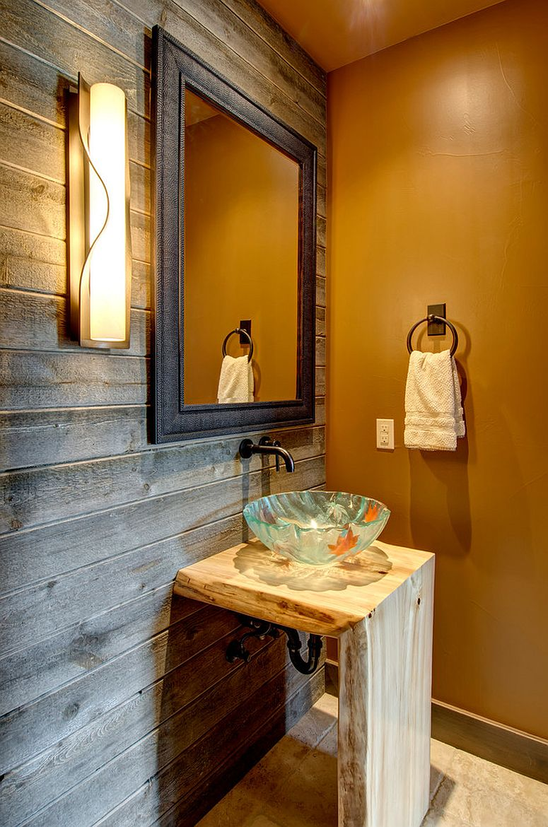 Rustic powder room with reclaimed wood accent wall and orange wall in matte finish [From: Jon Eady Photographer]